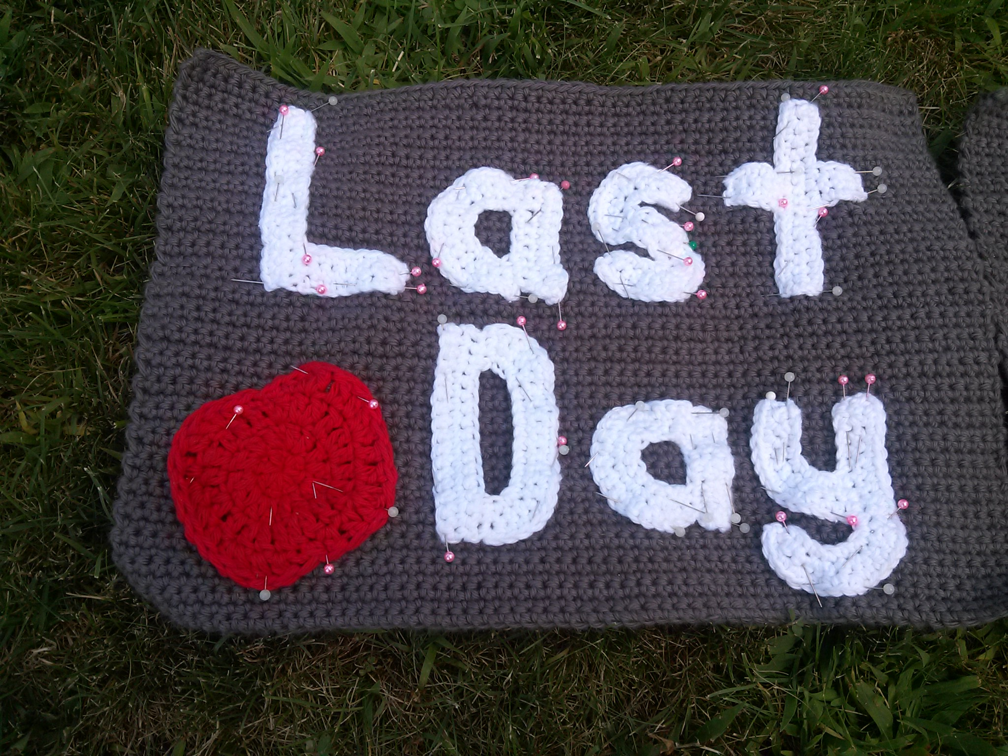 Last Day pinned piece - Back to School Crochet Reversible Photo Prop