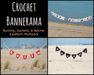 Crochet Bannerama by Hi, Jenny Brown- 3 Pattern Multipack for crochet garland, banner, and bunting that you can personalize
