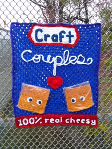 real cheesy yarnbomb